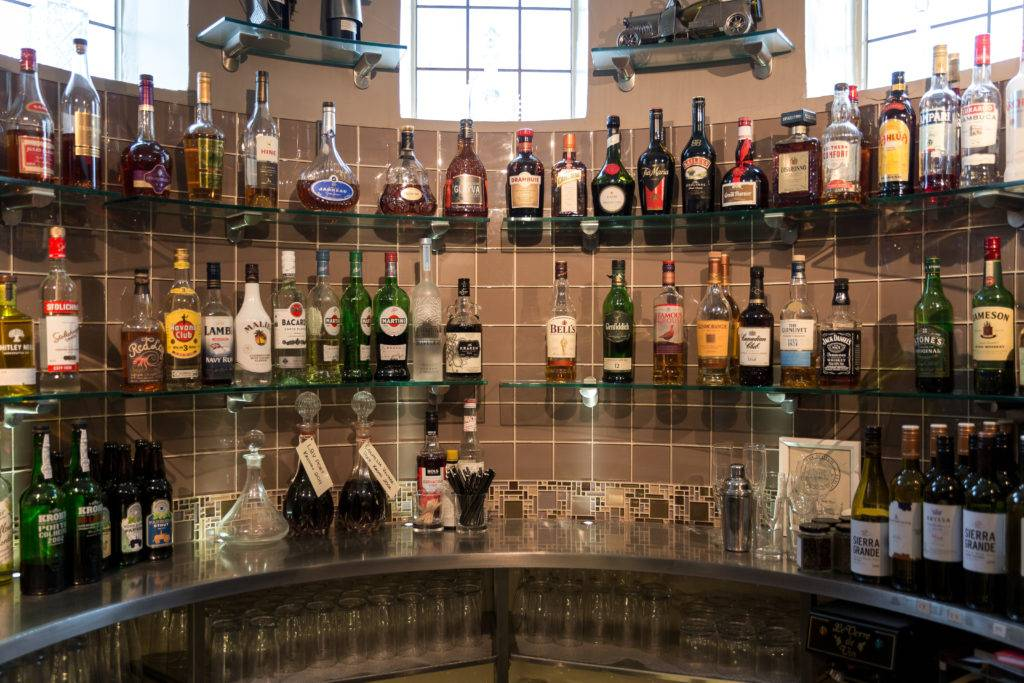 The well stocked bar at the George Hotel